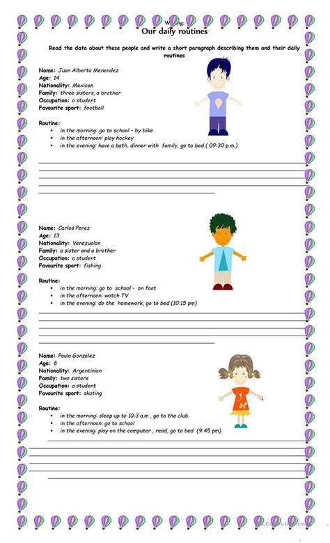 our daily routines-writing worksheet - Free ESL printable